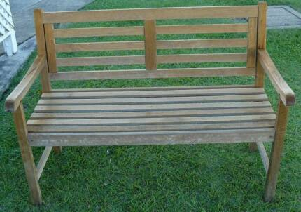 Timber Bench Seat Chair With Like NEW Cushions