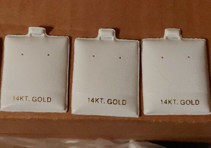 """100 14K Gold White Earring Puff Cards Case Display 1.5"""""""