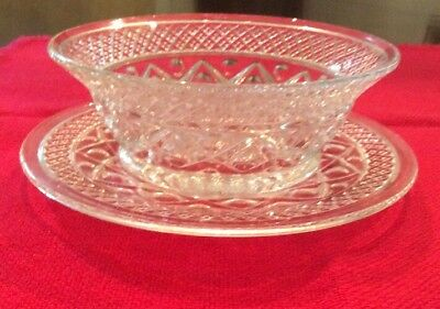 IMPERIAL CAPE COD CRYSTAL WHIP CREAM /  MAYONNAISE DISH & UNDERPLATE