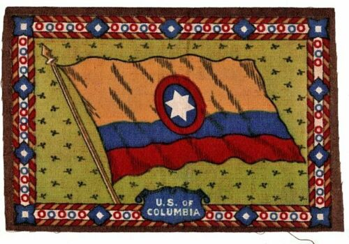 1910-1915 Cigar Box Cigarette Felt Silk Flag-U.S. OF COLUMBIA-8 x 6 in-EXC. COND