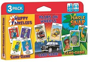 CHILDREN'S CARD GAMES - JUNGLE SNAP, PAIRS ON WHEELS AND HAPPY FAMILIES - 3 PACK