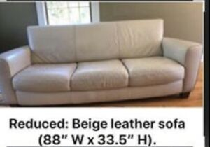 Beige sofa /couch- leather