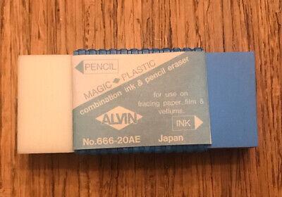 Alvin De-luxe 666-20ae White Magic Plastic Pencil Ink Eraser 1 X 2.25 Japan
