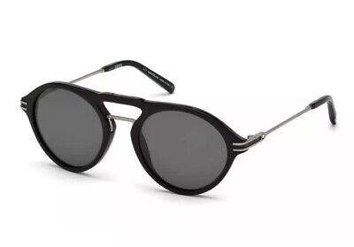 Mont Blanc MB 716S 01D Grey Polarized Shiny Black Smoke 52mm Men Sunglasses (Mont Blanc Polarized Sunglasses)
