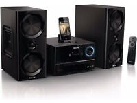 PHILIPS-CD-RDS RADIO-IPHONE 3/3GS/4/4S-IPAD DOCKING STATION-DOCK-120 WATTS