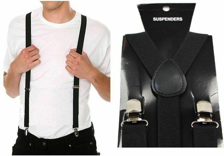 Mens Black Suspenders Braces Elastic Adjustable Formal Wedding Womens 100cms
