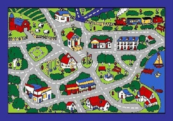 STREET MAP GREY CARS TRUCK CHILDREN PLAY RUG FOR KIDS 5 X 7 NON SKID AREA RUG