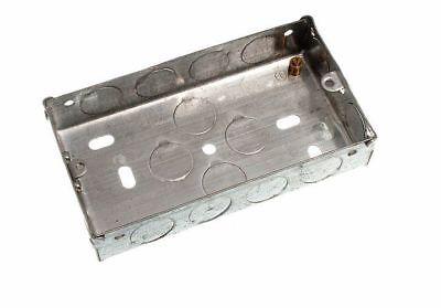 Pkg of 50 Flush Mount Metal Pattress Electric Back Box Double 2 Gang 25Mm
