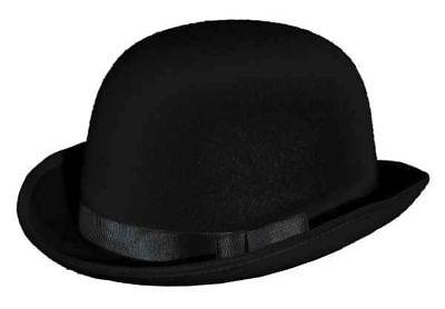 Melone in schwarz mit Rips- und Hutband zum Kostüm an Karneval Fasching