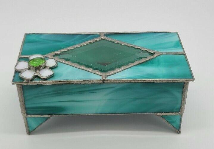 Vintage Slag Glass Jewelry/ Trinket Footed Box
