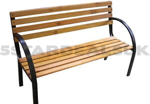 3 SEATER MODERN GARDEN OUTDOOR WOODEN WOOD PARK BENCH SEAT W/CAST IRON LEGS