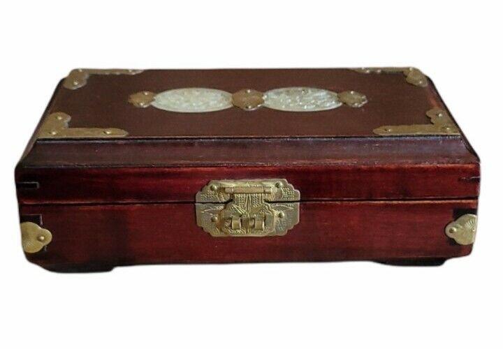 Chinese Wood Trinket Jewelry Box Brass Fittings Jade Inserts