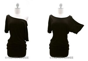 A2-BLACK-VICTORIA-Jersey-Off-the-Shoulder-Top-Shirt-Tunic-Band-Short-Sleeve-M