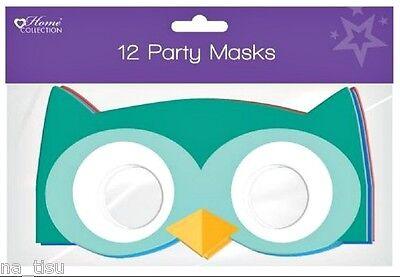 12x MASKS OWLs animals kids paper Party birthday bag costume fancy dress fun gam