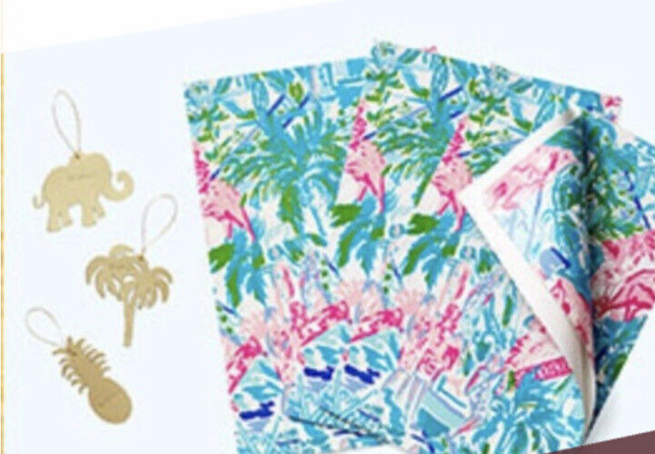 New Sealed Lilly Pulitzer Gift Wrap Wrapping Paper Tag Set Bohemian Queen GWP