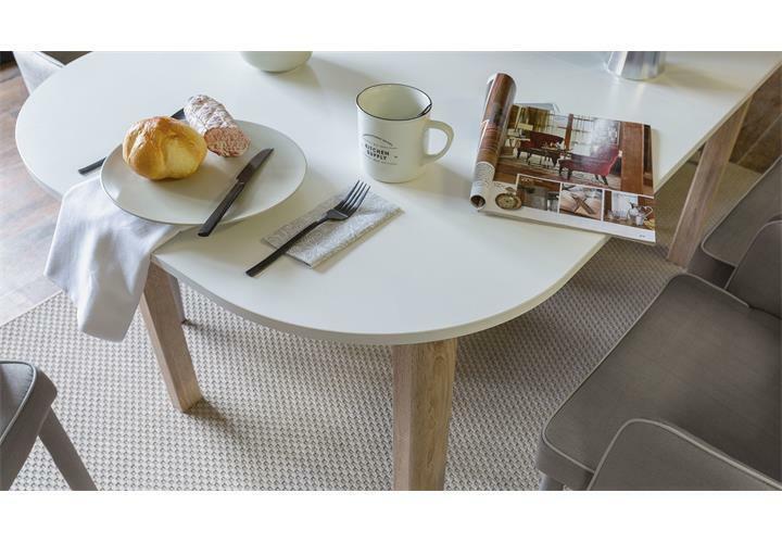 Esstisch Esszimmertisch weiß Sonoma Eiche rund ausziehbar 160-200 cm Lund