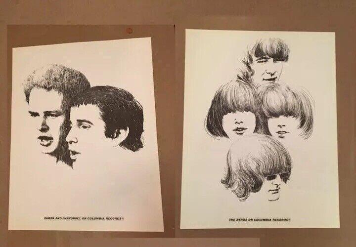 BYRDS Simon Garfunkel 2 Poster SET Promo Columbia Records 1966 rare Clip Art