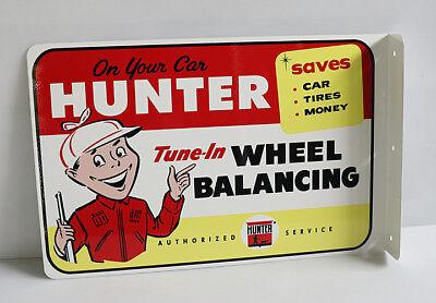 HUNTER TUNE IN Wheel Balancing CAR MECHANIC SERVICE FLANGE SIGN gas Modern Retro