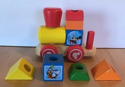 Melissa & Doug Mickey Mouse Stacking Wooden Train Replacement Parts Blocks Lot (Melissa And Doug Stacking Train)