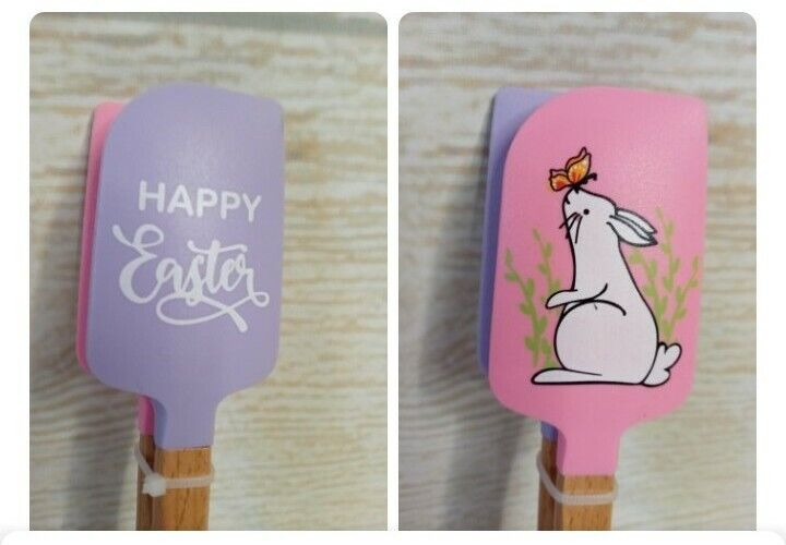 """New! """"Happy Easter"""" SPATULA SET of 2 - 8"""" Baking Cooking Spring Bunny Rabbit"""