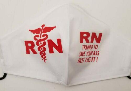 Homemade Face Mask White W/Red Vinyl Nurses Themed Logo New Large  - $10.00