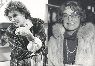 2 Fotos von MARIA SCHELL - Pressefoto Vintage von 1985 Schauspielerin Österreich
