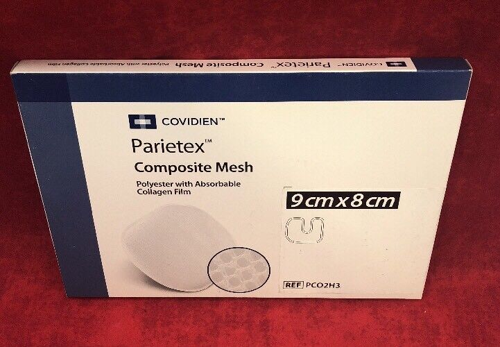 New Covidien Parietex Composite Mesh Pco2h3 9x8cm Polyester W/collagen Film