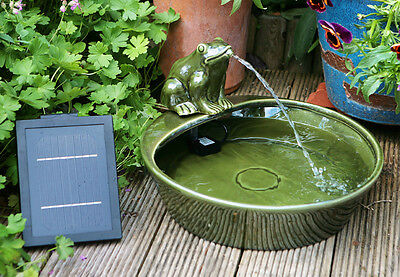 Bowl Water Feature Fountain Solar Powered Frog Pond Ceramic Design Garden Patio