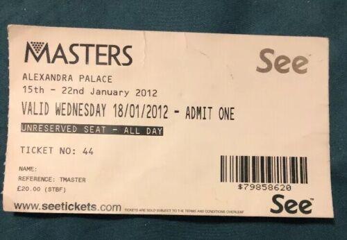 Masters Snooker (Jan 2012) Used Ticket