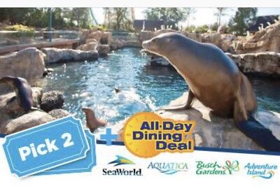 Seaworld Orlando Two Park Ticket  126 W  Free All Day Dining Both Days Promo