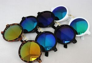 New-Fashion-Round-Sunglasses-Reflective-Glasses-Color-Mirror-Eyeglasses