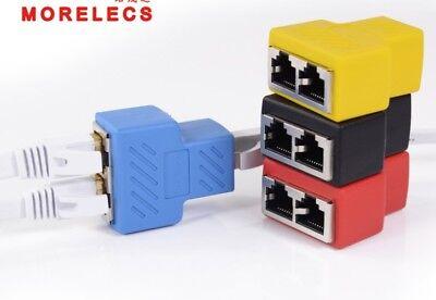 Adaptador divisor RJ45 1-2 Convertidor Ethernet de puerto hembra dual CAT5 /CAT6