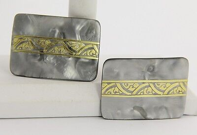 VINTAGE SHOE DECORATION Jewelry 2 SIGNED FRENCH MARBLED PLASTIC SHOE CLIPS SET
