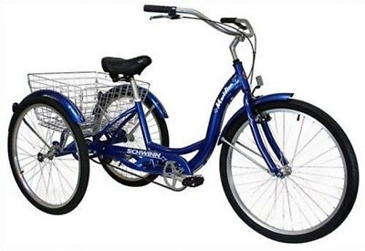Adult Tricycle Blue Full Size Three Wheel Bicycle Adjustable