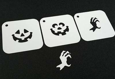 #1.1 Set of 3pcs HALLOWEEN Reusable Stencils Pumpkin Smile Scary Hand Face Paint - Scary Halloween Pumpkin Stencils