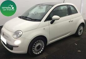 £110.39 PER MONTH WHITE 2013 FIAT 500 1.2 LOUNGE 3 DOOR PETROL MANUAL