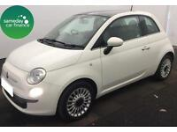 £110.39 PER MONTH WHITE 2013 FIAT 500 1.2 LOUNGE 3 DOOR PETROL MANUAL