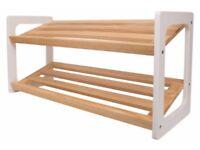 NEW John Lewis 2 Tier Wooden Shoe Rack - White / Oak