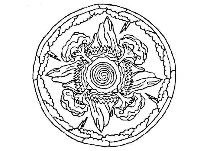 "Rug Hooking Pattern "" CREATIVE MANDALA""  on natural linen"