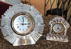 Lot of Two 2 Crystal Table Desk Clocks Bulova Hoya and Waterford Grandfather