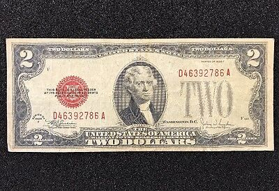 $2 Series Of 1928 Red Seal, United States Note, with FREE shipping! Paper Money 2 Red Seal Note
