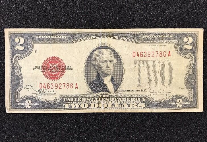 $2 Series Of 1928 Red Seal, United States Note, with FREE shipping! Paper Money