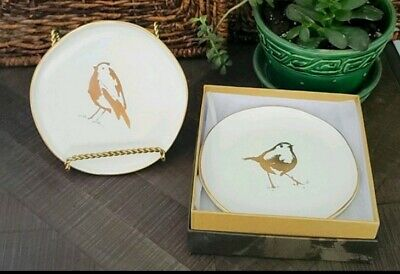 "4 - ROSANNA Timberline Birds 6"" Dessert Plates boxed"