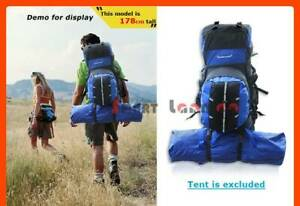 New Outdoor 80L Backpack Bag Camping Hiking Rucksack Travel Blue