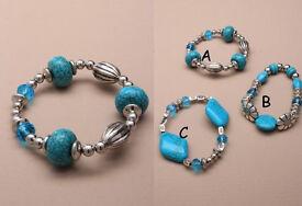 Marble effect Turq bead bracelets. - JTY020