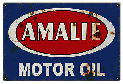 """Reproduction Red And Blue Amalie Motor Oil Sign 12""""x18"""""""