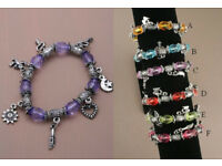 Stretch translucent bead and silver plated charm bracelet. In 6 assorted colours. - JTY013