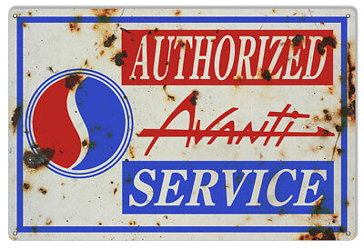 Aged looking Avanti Authorized Service Gas Station Reproduction Sign 12x18