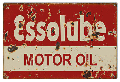 """Aged Looking Essolube Motor Oil Sign 12""""x18"""""""