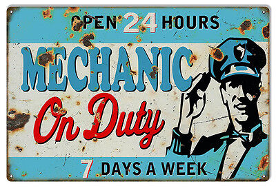 Large Format Reproduction Open 24 Hours Mechanic On Duty Sign 16X24